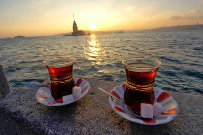 Turkish tea with the view on Bosporus islet.