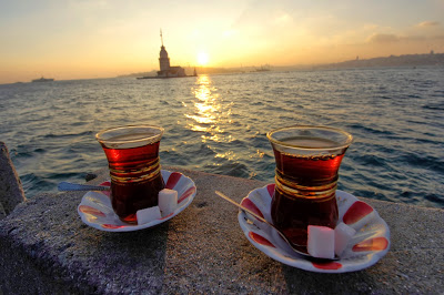 Turkish tea with the view on Bosporus islet.