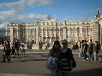My friend and I in front of the Royal Palace