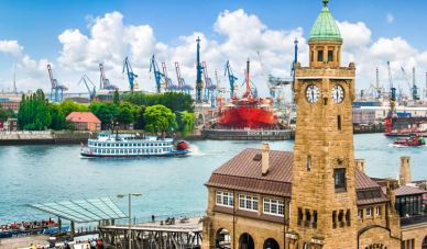 Flussschifferkirche and the port behinf