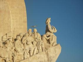 Vasco da Gama as first in the line in the fraction of Monument to Maritime Discovers