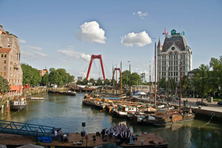 Old ships moored in the Old port of Rotterdam