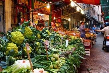 Market Vucciria, green vegetables.