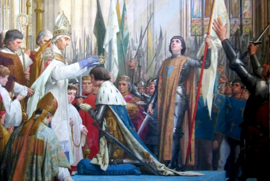 Coronation of Charles VII in presence of Joan of Arc in Cathedral Notre Dame of Reims